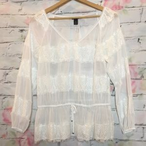 White house black market sheer white blouse sz M